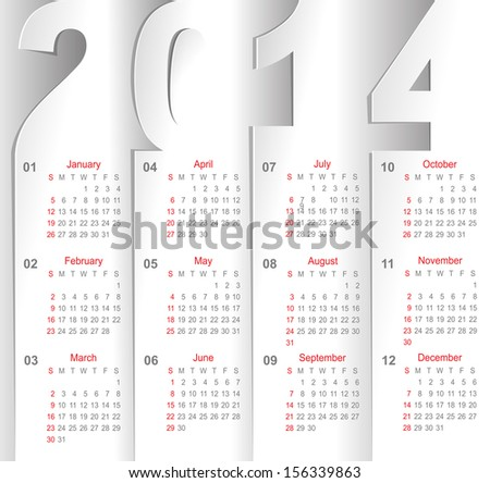 calendar on white sheets of paper - stock vector