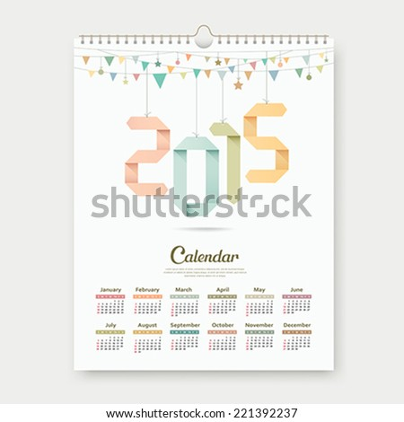 Calendar 2015, Origami paper number template design, vector illustration - stock vector