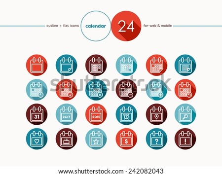 Calendar outline flat icons set line style for web and mobile app. EPS10 vector file organized in layers for easy editing. - stock vector