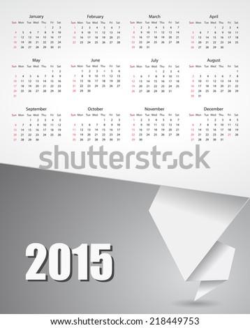 calendar 2015 paper banner design - stock vector