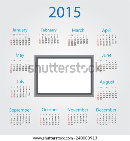 Calendar 2015.Place for your photo.Vector illustration. - stock vector