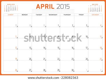 Calendar planner 2015 template week starts sunday vector illustration April month - stock vector