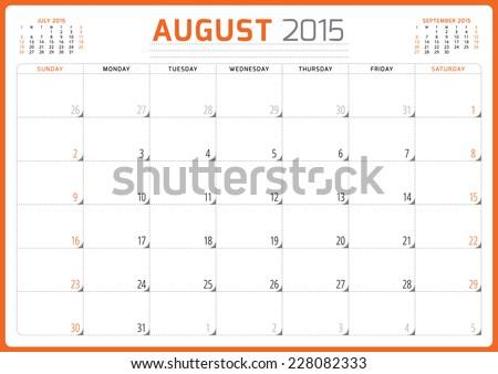 Calendar planner 2015 template week starts sunday vector illustration August month - stock vector