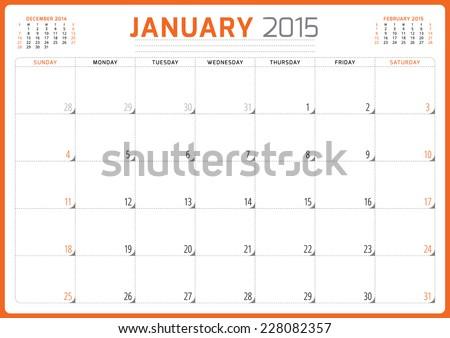 Calendar planner 2015 template week starts sunday vector illustration January month - stock vector
