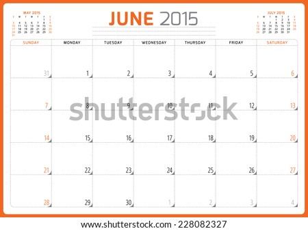 Calendar planner 2015 template week starts sunday vector illustration June month - stock vector