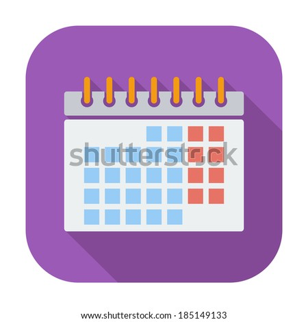 Calendar. Single flat color icon. Vector illustration. - stock vector