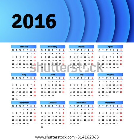 Calendar 2016 template design with header picture - stock vector