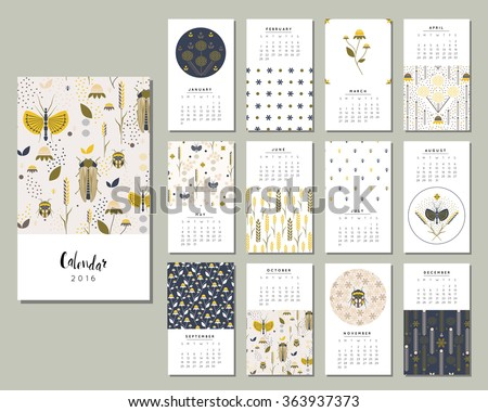 Calendar 2016. Templates with flowers, bugs and grasshoppers in a garden. Art posters, backgrounds texture with floral and nature paint. Vector. - stock vector
