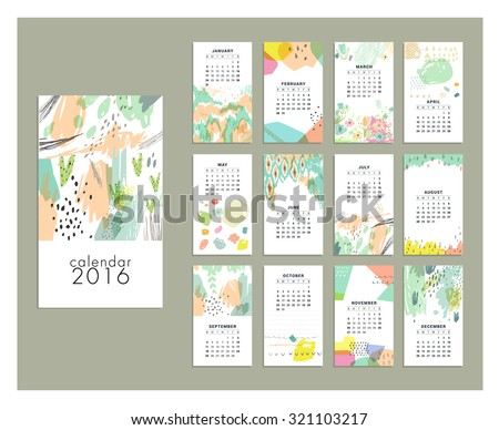 Calendar 2016. Templates with Hand Drawn textures - stock vector