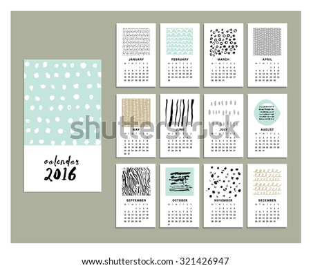 Calendar 2016. Templates with Hand Drawn textures made with ink. Vector. Isolated. - stock vector