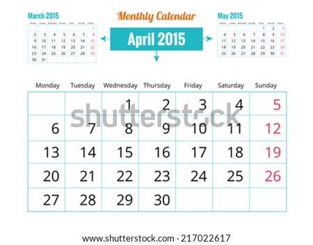 Calendar to schedule monthly. April - stock vector