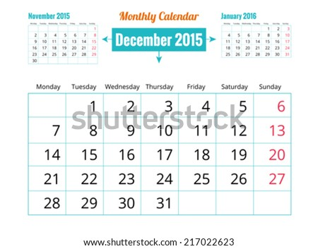 Calendar to schedule monthly. December - stock vector