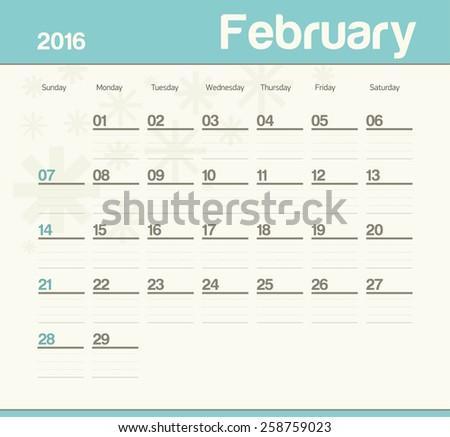 Calendar to schedule monthly. February. - stock vector