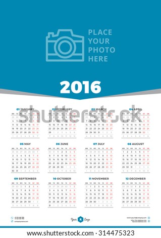 Calendar 2016 Vector Design Template. Week Starts Monday - stock vector