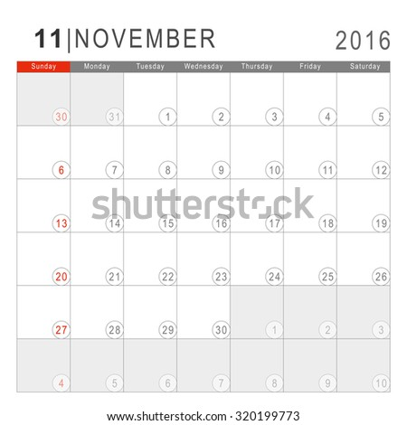 Calendar 2016. Vector Flat Design Template. November. Week Starts Sundayand ends  with Saturday. Font Arial sans serif. - stock vector