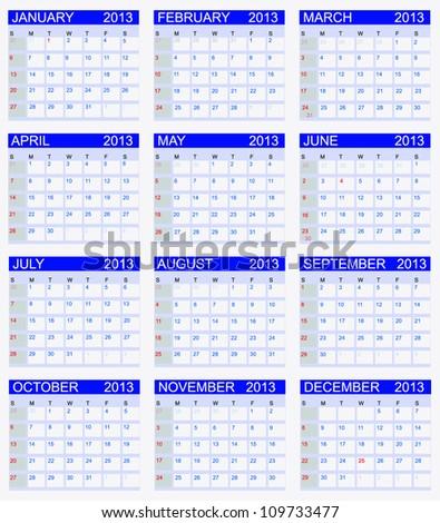 Calendar 2013. Vector Illustration - stock vector