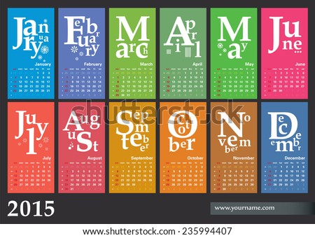 Calendar 2015 - vector template design, multicolored. Weeks begins sunday. - stock vector