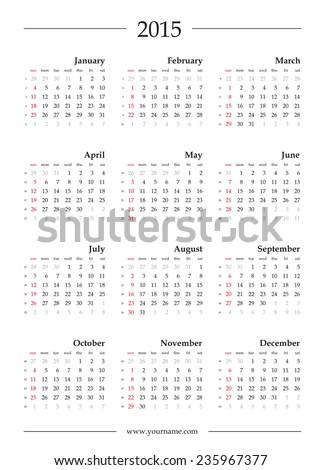 Calendar 2015, vector template. Week begins sunday. Editable EPS 10. - stock vector