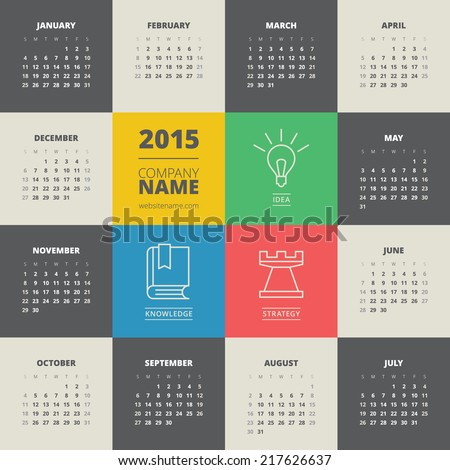 Calendar 2015 vector template week starts monday - stock vector