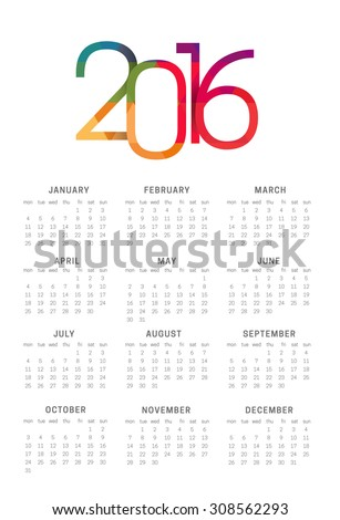 Calendar 2016 vector template week starts Monday in white background - stock vector