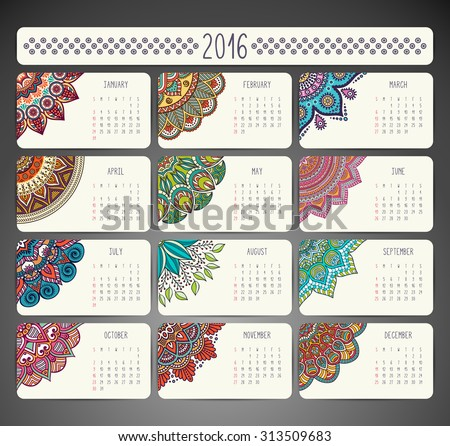 Calendar 2016. Vintage decorative elements. Ornamental floral business cards, oriental pattern, vector illustration.  Islam, Arabic, Indian, turkish, pakistan, chinese, ottoman motifs - stock vector