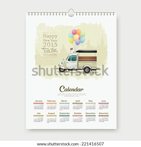 Calendar, Vintage motor-tricycle Thailand.  template design, vector Illustration - stock vector