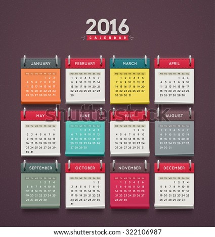 Calendar 2016, week starts on monday, eps 10 - stock vector