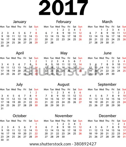 Calendar 2017. Weeks starts from monday. Vector illustration - stock vector