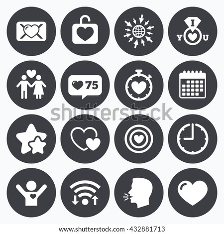 Calendar, wifi and clock symbols. Like counter, stars symbols. Love, valentine day icons. Target with heart, oath letter and locker symbols. Couple lovers, boyfriend signs. Talking head, go to web. - stock vector