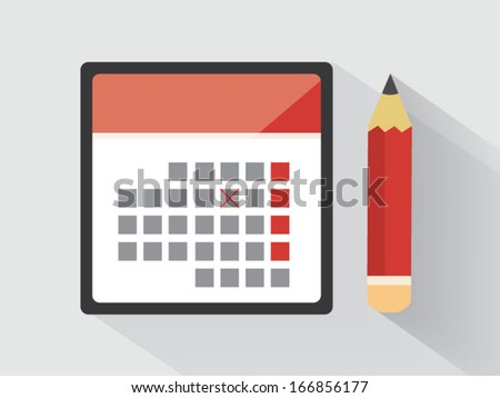 Calendar with a pencil - stock vector