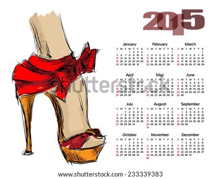 Calendar 2015 with beautiful female leg in high heels - stock vector