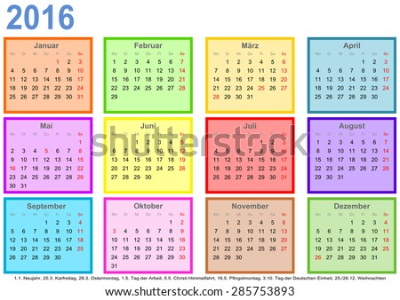 Calendar 2016 with colorful squares for each month and markings of ...