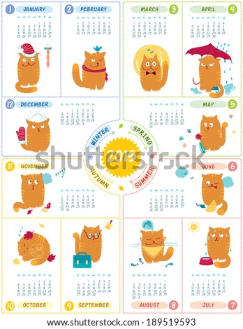 Calendar With Cute Cats - stock vector