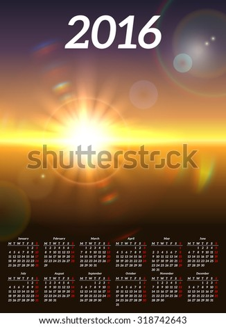 Calendar 2016 with scenic view of sunny landscape - stock vector