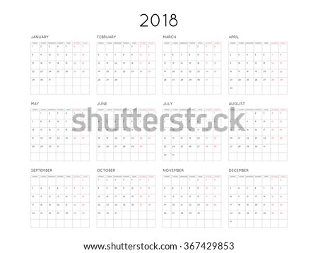 Calendar 2018 year simple style with grid. Week starts from monday - stock vector