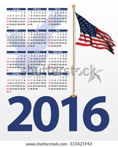 Calendar year 2016 USA symbol - stock vector