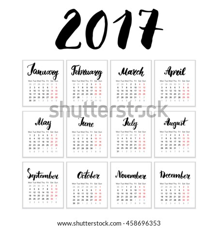 Calendar 2017 Year, Vector Cards With Hand Drawn Month Lettering, Week Starts Monday - stock vector