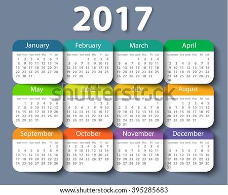 Calendar 2017 year vector design template. EPS10 - stock vector