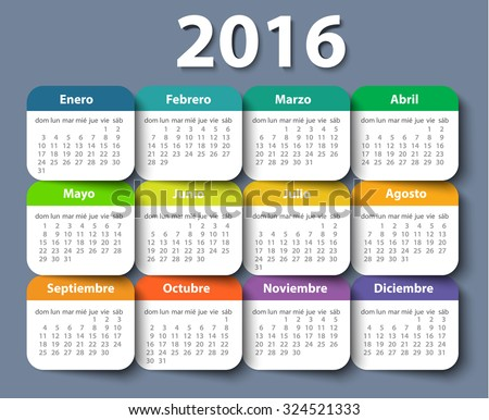 Calendar 2016 year vector design template in Spanish. EPS - stock vector