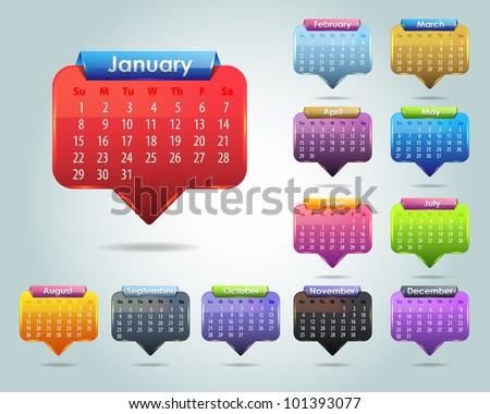 Calendar Year 2012 Vector Template - stock vector