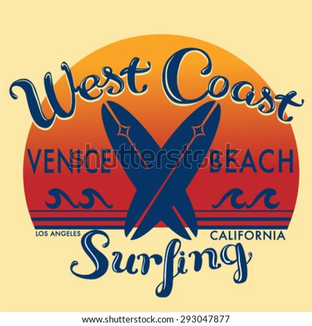 California beach and surf typography, t-shirt graphics , vectors - stock vector