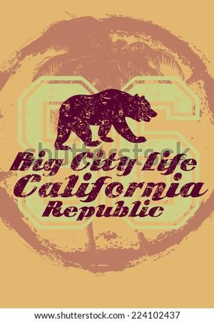 california big city  bear vector art - stock vector