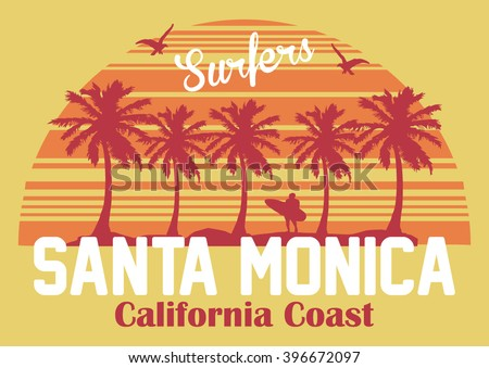California coast, santa monica beach, surfers vector print and varsity. For t-shirt or other uses in vector.T shirt graphic - stock vector