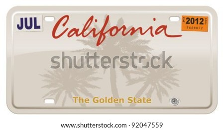 California license plate. - stock vector