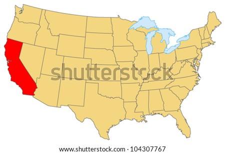 California Locate Map - stock vector