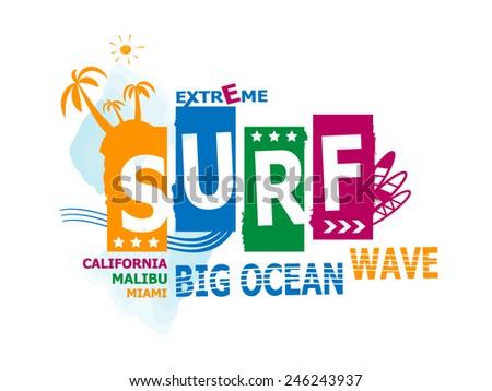 California, malibu, miami surf illustration, vectors, t-shirt graphics - stock vector