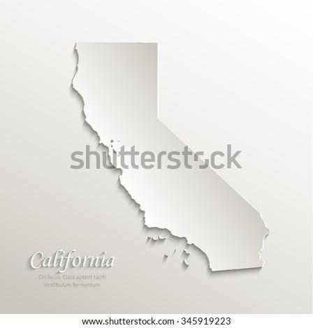 California map card paper 3D natural vector - stock vector