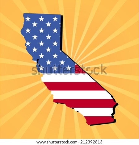 California map flag on yellow sunburst illustration - stock vector