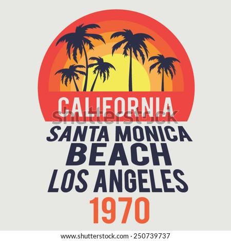 California Santa beach typography, t-shirt graphics, vectors - stock vector