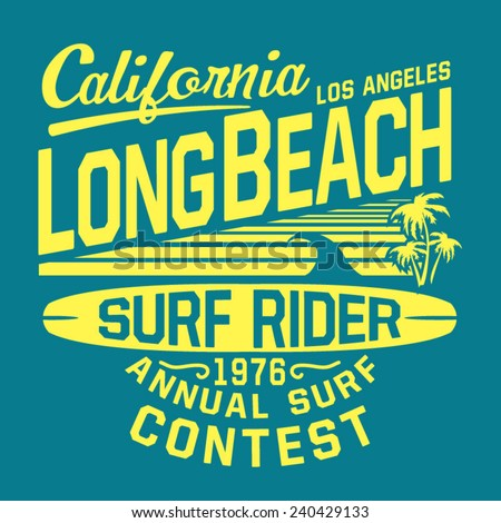 California sport surf typography, t-shirt graphics, vectors - stock vector